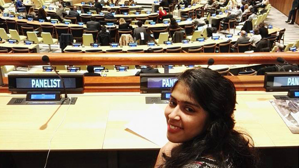 Youth Forum delegate Swetha Stotra Bhashyam advocating for Youth empowerment and engagement on World Wildlife Day 2017 at the United Nations Headquarters.