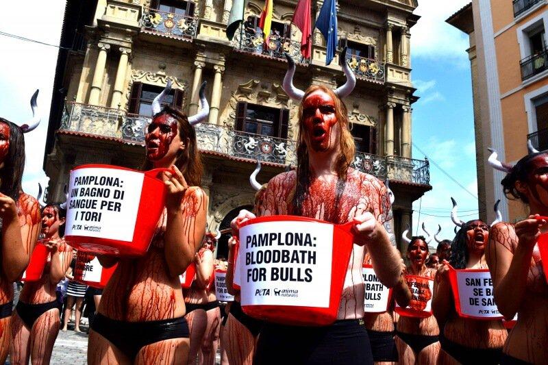 PETA UK Pamplona Protest