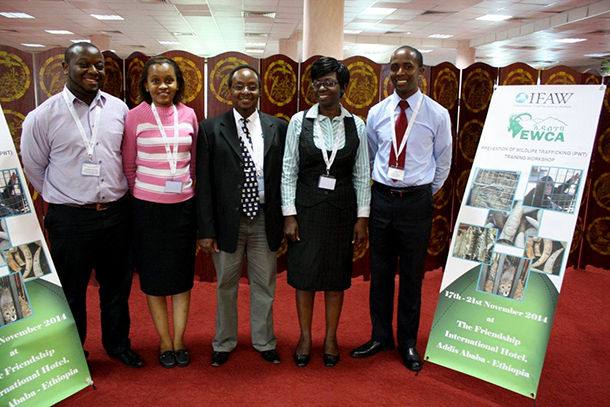 IFAW staff Samuel Matua, Jacqueline Nyagah, Steve Njumbi, Beatrice Owayo and Isaac Peroh at the Prevention of Wildlife Trafficking workshop at the Friendship International Hotel in Addis Ababa, Ethiopia.