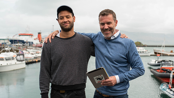 hosts of IFAW's meet us dont eat us campaign to protect whales in iceland