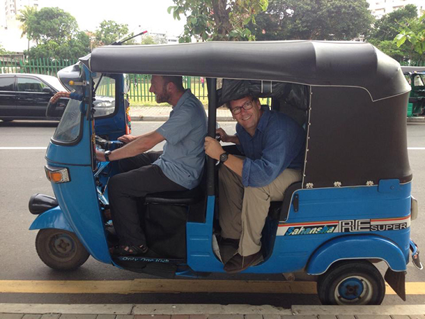 Science in the driver's seat.  IFAW scientific advisor, Russell Leaper and the author, Patrick Ramage, on a sleepy sightseeing tour in Colombo, Sri Lanka.