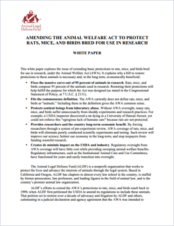 ALDF white paper on the Animal Welfare Act