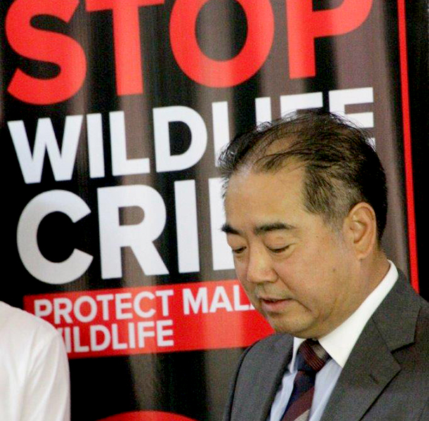 His Excellency Zhang Qingyang, Chinese Ambassador to Malawi, speaks at the recent wildlife crime workshop.