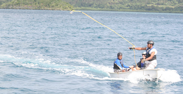 Workshop participants practiced in sheltered waters with the custom designed gear.