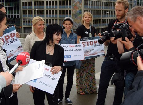 Joan Jett protests seal hunting