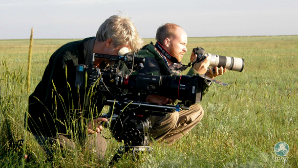 Filmmakers Ben Macdonald, researcher at Silverback Films, England, and John Aitchison, wildlife cameraman and photographer from Scotland.
