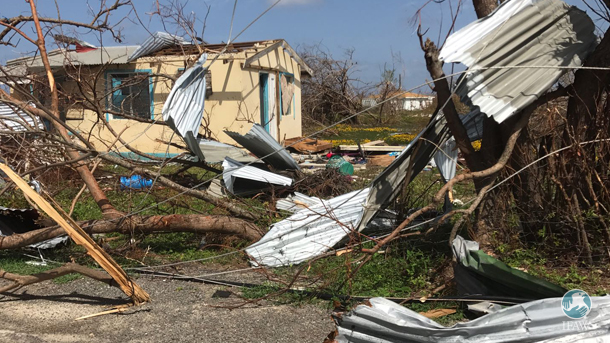 destruction in the aftermath of hurricane irma on the island of barbuda