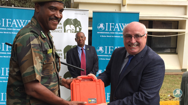 The author with a new ivory fingerprinting kit developed by the London Metropolitan Police at Jomo Kenyatta International Airport.