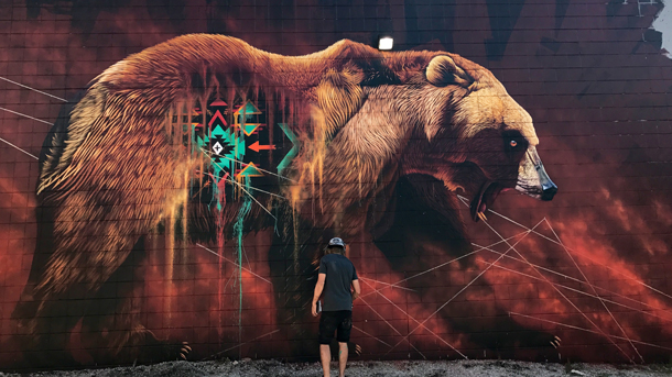 Sonny completed his mural of a grizzly bear this July in Cambridge, Ontario. Grizzlies are native to the area, and the artist used this opportunity to highlight a conservation success story. PHOTO: © Sonny Sundancer