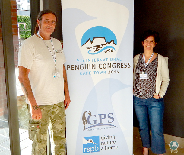 The author and colleague Sergio Heredia at the 9th International Penguin Congress.