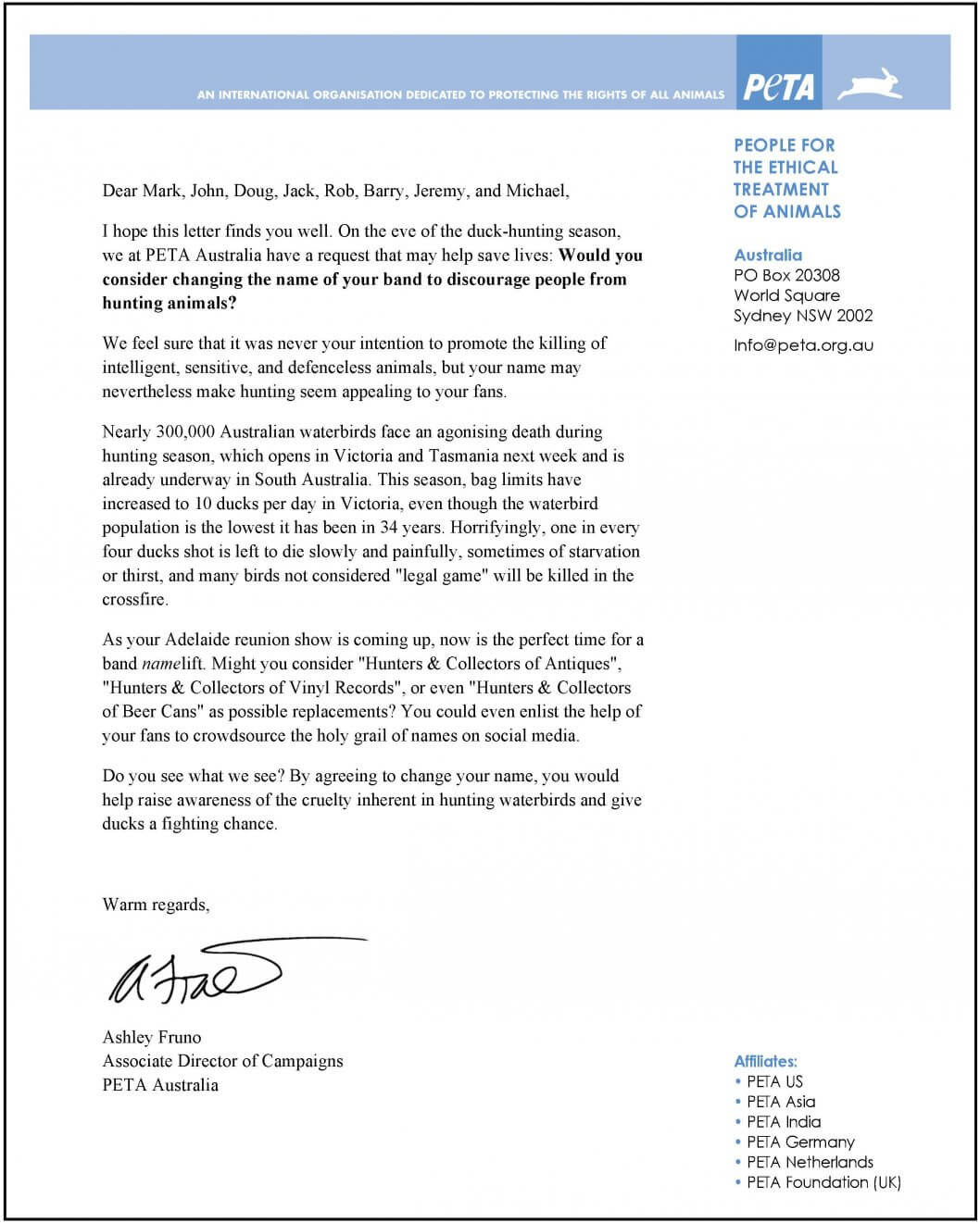 PETA Letter to Hunters  Collectors