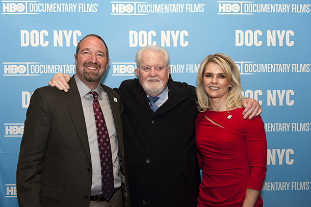 The author with IFAW founder Brian Davies (center) and long-time IFAW campaigner and advisor AJ Cady, all of whom play prominent roles in the Huntwatch documentary.