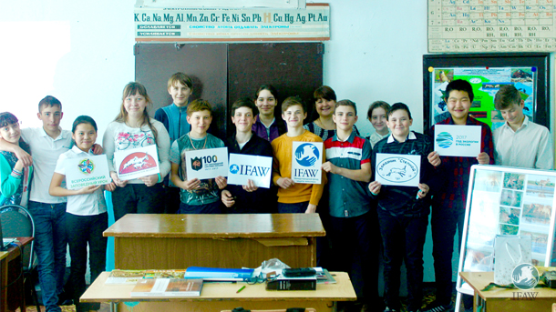 Students who participated in the nature reserve lessons sponsored by the Russian government.
