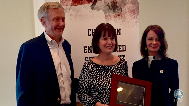 IFAW's Faye Cuevas with Former Secretary of the Interior Bruce Babbitt and Honoree Rep. Betty McCollum