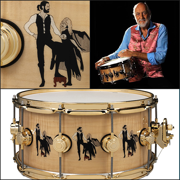 """Fleetwood Mac drummer Mick Fleetwood and the Drum Workshop snare drum """"Rumours"""" created in his honor."""