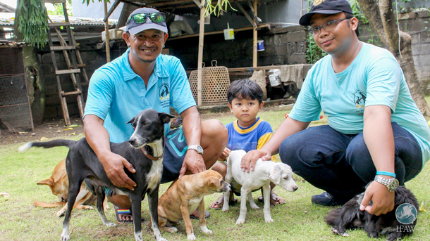 Members of Udayana University's Public Health Faculty give some recently rescued puppies love. These dogs were rescued as part of IFAW's new Program Dharma project.