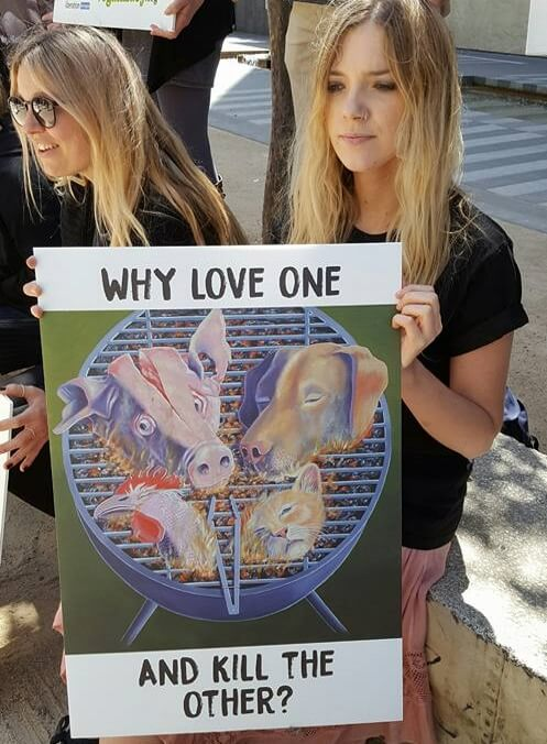 Activist at Human Meat Demo Melbourne