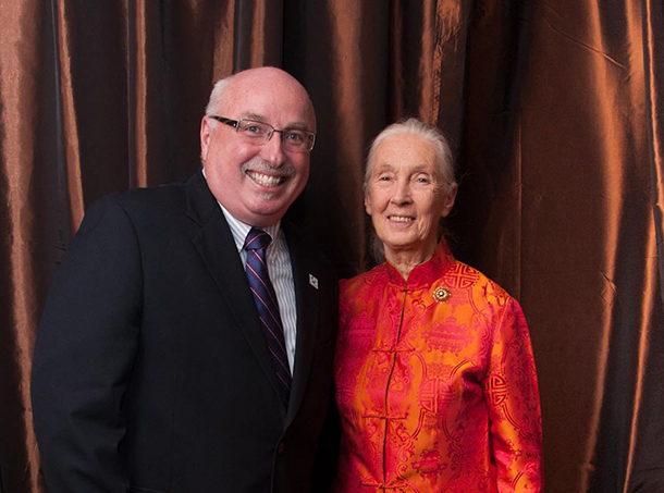 Azzedine Downes and Jane Goodall at her 80th birthday celebration event in San Francisco, CA, April, 2014.