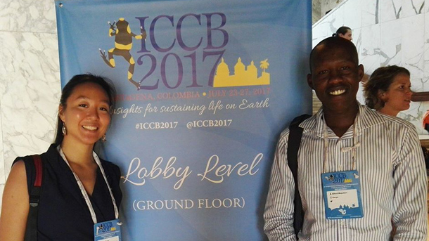 Cecile Tang and Alfred ole Mepukori during this summers International Congress for Conservation Biology, where they presented on Millennials entering the world on wildlife conservation and participated in a youth panel. Photo © Cecile Tang