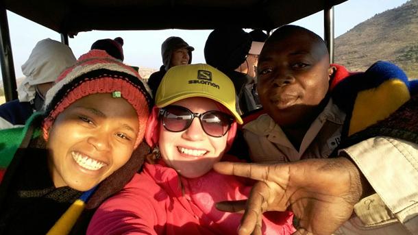 Xolile Myira, Olya Esipova and Meshack Tshingwe on a game drive in Pilanesburg National Park.