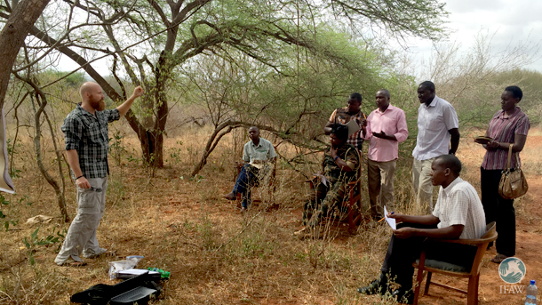 The author conducting a training in the field.