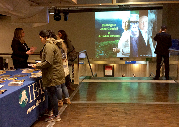 IFAW supporters stop by the booth set up during the talk at the Cite des Sciences in Paris.
