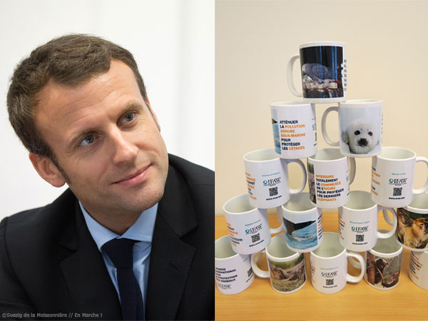 Macron and the set of mugs sent to each candidate representing IFAW's priorities